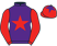 Purple, red star and sleeves, red cap, purple star}