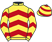 Silk colours for SAMS PROFILE, trained by M. F. Morris, Ireland and owned by Michael O'Flynn/John F O'Flynn