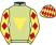 Silk colours for CLEMENCIA (IRE), trained by Tim Vaughan and owned by Mr D. W. Fox
