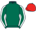 Forest green, three white doves and horseshoe on back, white seams on sleeves, red cap}