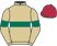 Silk colours for DOUBLY CLEVER (IRE), trained by Johnny Farrelly and owned by Mrs G. Morgan