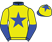 Yellow, blue star, collar and cuffs, halved sleeves, yellow cap, blue star and peak}