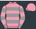 Rose pink, grey hoops, hooped sleeves, rose pink cap}