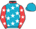 Turquoise, white stars, red collar and sleeves, white stars, turquoise cap}