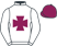 White, purple maltese cross and cap}
