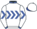 White, royal blue inverted chevrons, collar and cuffs, white cap with blue peak}