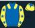 Royal blue, yellow epaulets, yellow sleeves, royal blue stars, yellow cap, royal blue star}