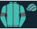 Aquamarine, dark grey seams, aquamarine sleeves, dark grey armbands, striped cap}