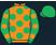 Orange, emerald green spots, emerald green sleeves, orange spots, emerald green cap}
