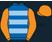 Royal blue, light blue hoops, orange sleeves and cap}