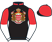 Black, monaco coat of arms, red and white halved sleeves, red collar and cap, black peak}