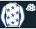 White,royal blue stars and collar,white sleeves,royal blue seams,white cap, royal blue stars}