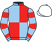 Light blue and red (quartered), hooped sleeves, white cap}