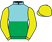 Light blue and green halved horizontally, yellow sleeves and cap}