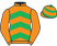 Silk colours for DYLROW (IRE), trained by David Christie, Ireland and owned by R. Nicholas / Dr. W. S. Campbell
