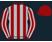 Crimson and silver grey stripes, crimson cap}