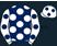 Dark blue, white spots, white sleeves, dark blue spots and cap}