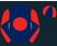 Dark blue, red disc, diabolo on sleeves, quartered cap}