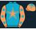 Turquiose, salmon, turquoise and salmon stars, salmon sleeves, turquoise stars, salmon cap,}