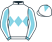 White, light blue band of diamonds and sleeves, white seams, white cap, light blue diamond}