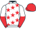 White, red stars, halved sleeves, red cap}