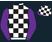 Black and white checks, metallic purple sleeves, black and white checked cap, metallic purple peak}