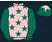 Pink, dark green stars and sleeves, dark green cap, pink star}