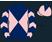 Dark blue and pink diabolo, chevrons on sleeves, pink cap, dark blue diamond}