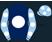 Dark blue, white disc, light blue sleeves, white spots and cap}
