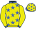Yellow, royal blue stars, collar and cuffs, yellow sleeves and cap, royal blue stars and peak}
