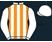 White and orange stripes, white sleeves and cap}